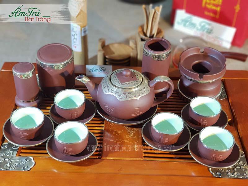 Bộ ấm chén bọc đồng và phụ kiện trà cụ