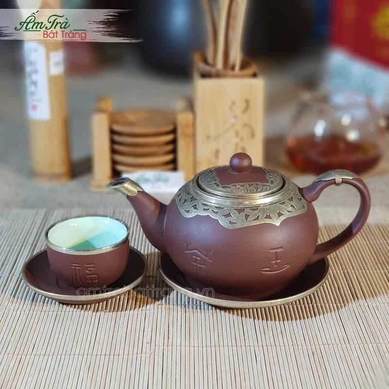 Bộ trà Tử sa Phúc Lộc Thọ bọc đồng