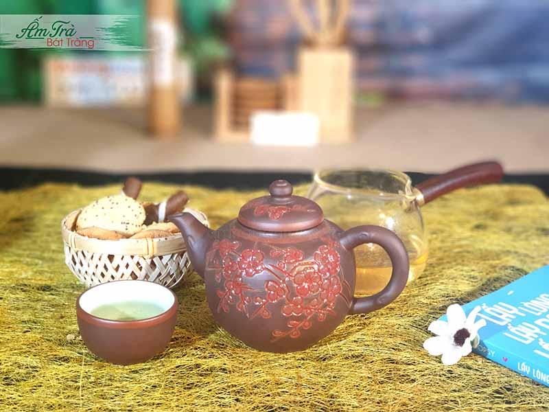 Bộ ấm trà Tử sa khắc hoa tuyệt đẹp