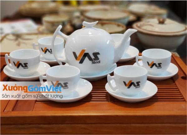 Ấm trà sứ trắng in logo