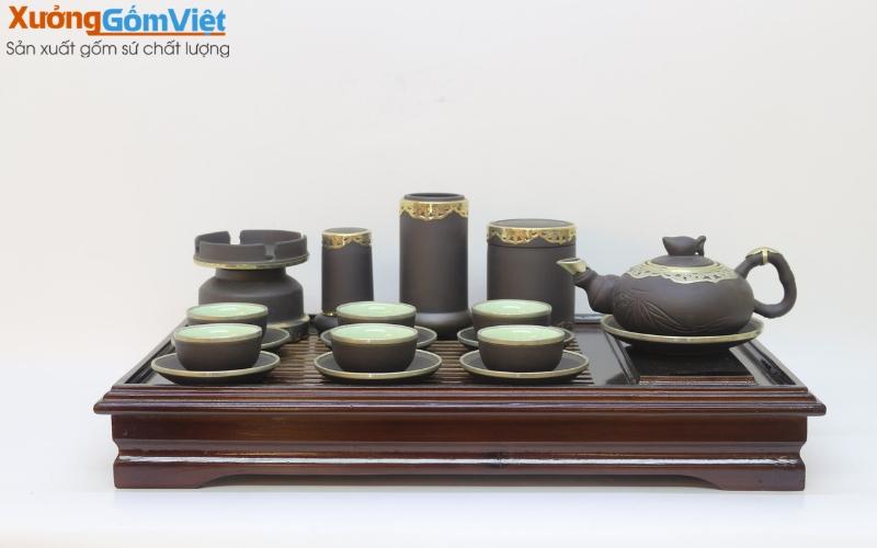 Bộ trà và phụ kiện ấm chén bọc đồng