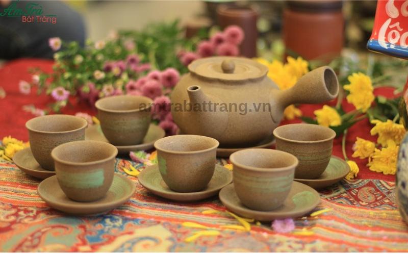 Bộ trà Hồng sa quẹt xanh non