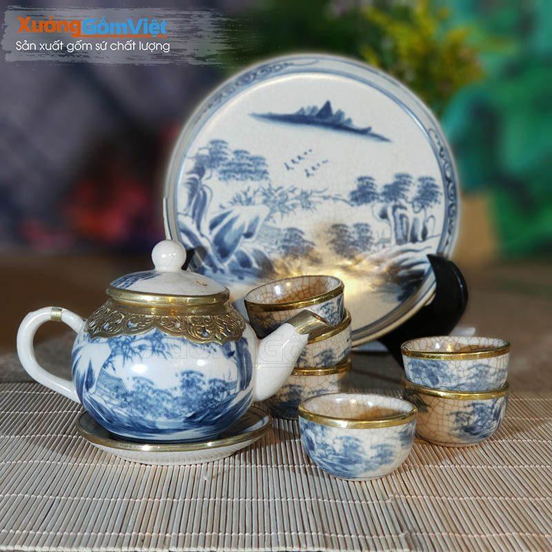 Bộ trà men rạn bọc đồng