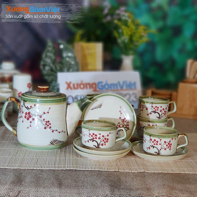 Bộ trà cao cấp vẽ hoa thủ công