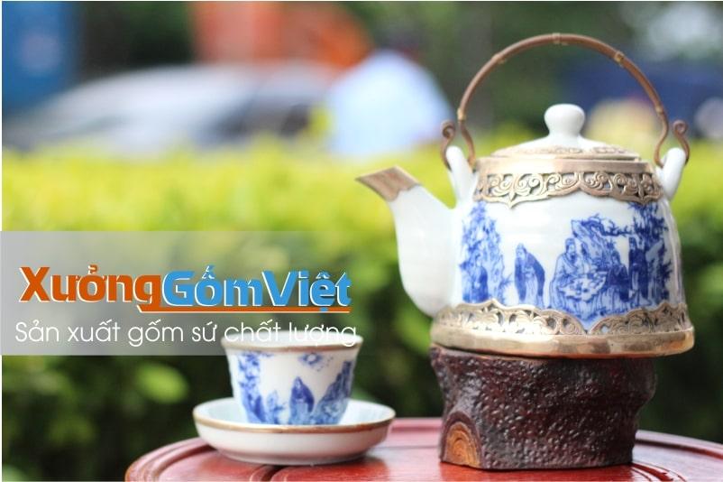 Bộ trà men xanh bọc đồng