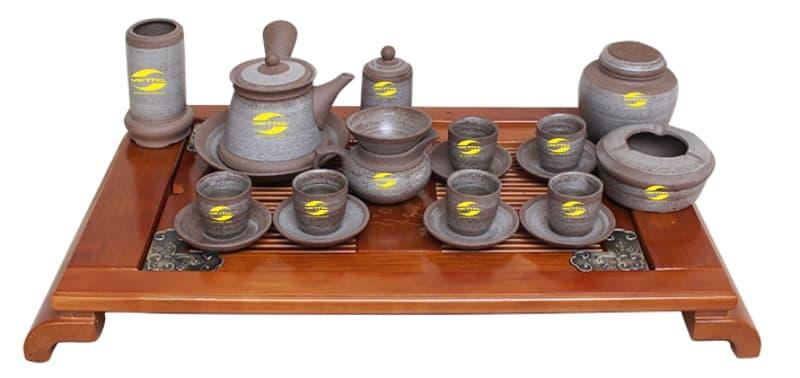 Bộ ấm trà Hồng sa in logo