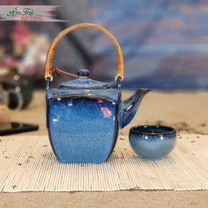 Bộ trà vuông men ngọc bích