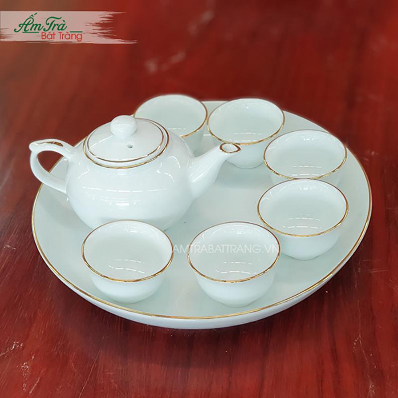 Bộ trà mini chỉ vàng sứ trắng Bát Tràng