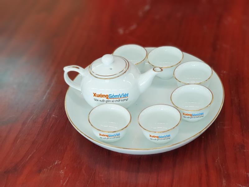 Bộ trà sứ trắng chỉ vàng mini