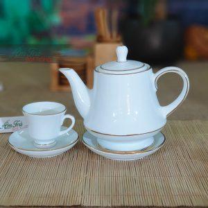 Bộ trà sứ trắng chit vàng AT-11