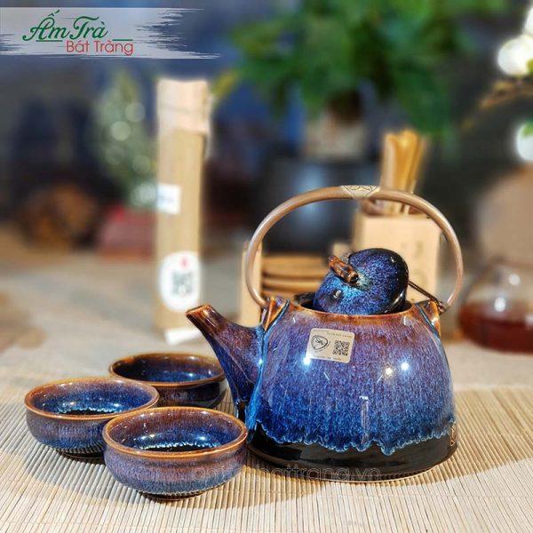 Bộ trà men hỏa biến quai đồng đúc