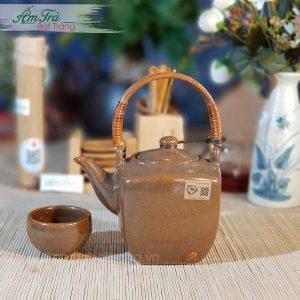 Bộ trà vuông men nâu