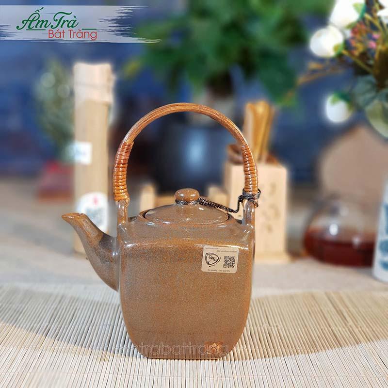 Bộ trà vuông men nâu Bát Tràng