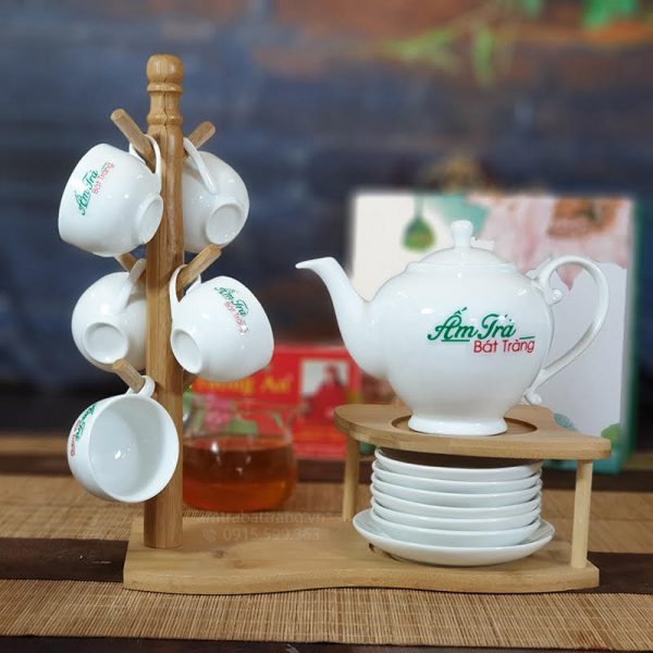 Bộ trà Camelia sứ trắng AT-28