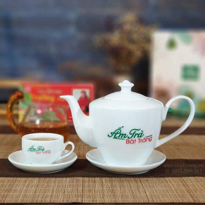 Bộ ấm trà Daisy sứ trắng AT-30