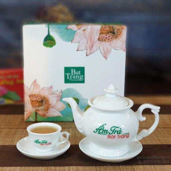 Bộ trà nút hoa sứ trắng
